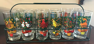 Vintage 12 Days Of Christmas Drinking Glasses In Wire Caddy
