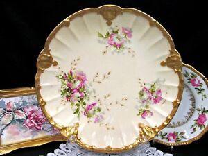 Limoges France Hand Painted Floral Thick Gold Bands Pattern Charger Platter