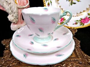 Shelley Tea Cup And Saucer Trio Deco Pattern Design Teacup Green Trims