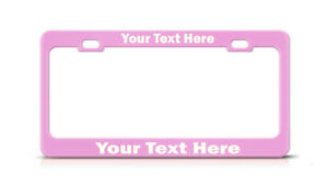 Personalized Soft Pink Chrome Black Metal License Plate Frame Tag Holder Cover