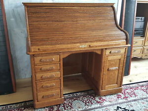 Rare Antique Roll Top Desk Solid Oak Quarter Sawn Wooten Style Pullout Ca 1890