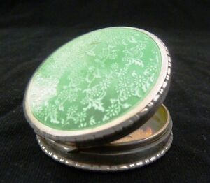 Antique 1890 Sterling Silver Green Guilloche Enamel Snuff Pill Box Picture Frame