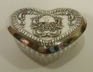 Vintage Towle Trinket Jewelry Box Heart Shaped Sterling Silver Cut Crystal Dish