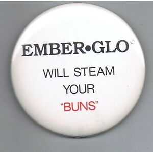 Vintage Ember Glo Steamers 2 5 Pinback Button Advertising Food Steam Your Buns