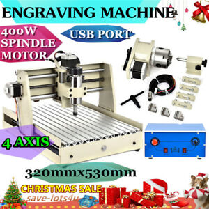 Usb 4 Axis 400w 3040 Desktop Cnc Router Engraver Engraving Milling Machine 110v