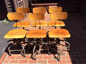 6 Vtg Toledo Industrial Drafting Stools On Wheels Metal Wood Adj 17 22 Nice