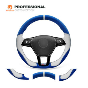 Custom Soft Leather Car Steering Wheel Cover For Vw Golf 7 Mk7 Jetta Passat B8