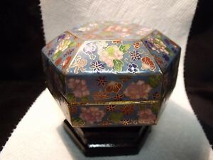 Small Antique Meiji Period Hexagonal 3 3 8 Floral Cloisonne Dresser Jar