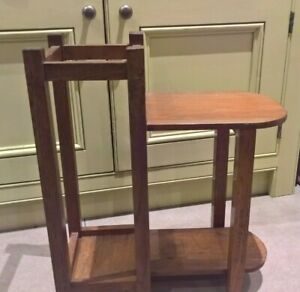 Vintage Oak Umbrella Stick Hall Stand With Side Table Seat Unusual