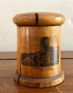 Wooden Box Antique Treen Wood Box Thread Spool Holder Seafield Tower Germany
