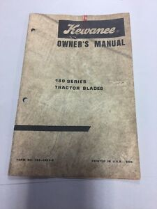 Kewanee 180 Series Tractor Blades Owners Manual