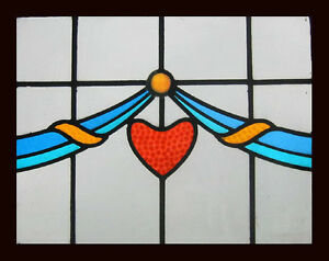 Art Deco Stained Glass Window Red Heart Circa 1920