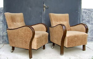 Pair Of Art Deco Armchairs Club Chairs Cocktail Chairs 1920s Vintage Antique