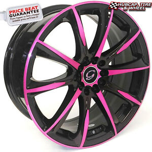 G Line 1026 17 X7 5 Black Pink Accents Custom Wheels Rims X 4 Free Shipping
