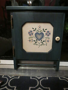 Vintage Blue Three Mountaineers Wood Spice Cabinet With Towel Holder