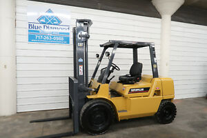 2004 Cat Gp40k 8 000 Pneumatic Tire Forklift Gas Engine Two Stage 3 Way