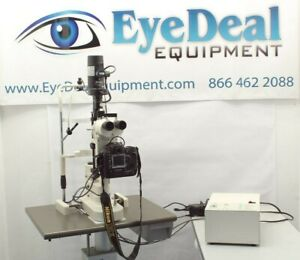 Nikon Fs3 Zoom Slit Lamp With Digital Camera Tonometer On Powered Table