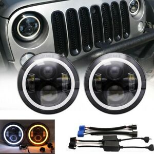 7inch Halo Angel Eyes Led Projector Headlights For Jeep Renegade Liberty Tj Jk