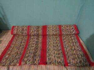 Vtg Weave Red Grey Throw Rug Saddle Blanket Seat Cover