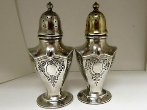 Antique Reed Barton Sterling Silver Salt Pepper Shakers 71 Grams