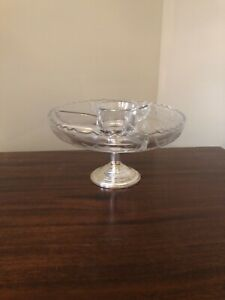 Frank M Whiting Co Sterling Weighted Candle Holder Crystal Glass Candy Dish