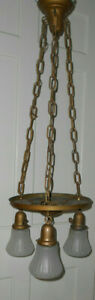 Vintage Brass Victorian Chandelier Ceiling 3 Light Fixture With Shades