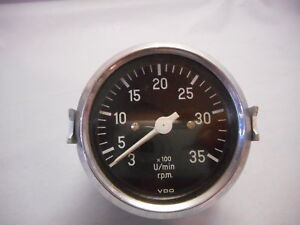 Nos Vdo 815 1 9 Tachometer 3500 Rpm Germany 1968 W Mount 3 1 8 Diameter