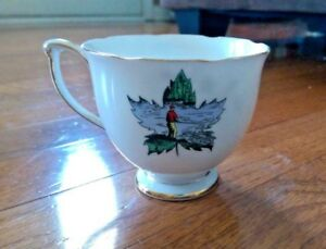 Vintage Queen Anne Bone China Tea Cup Rare Pattern Fisherman Lake Boat