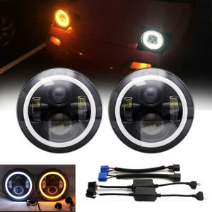 2x 7 Dot Led Headlights Chrome Upgrade Drl H4 H13 High Low Kit For Porsche 944