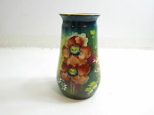 Beautiful Antique Royal Bonn 8 Tall Hand Painted Vase With Flowers C 1880 S