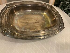Vintage 1847 Rogers Is Daffodil Flower Silver Plate Serving Bowl Dish Tray 9912