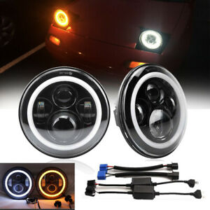 For Land Rover Defender 7in Led Headlights Hi lo Drl Amber Turn Signal Lamp Dot