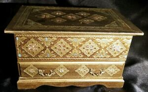 Vintage Ornate Gold Florentine Italy Toleware Wood Musical Jewelry Box