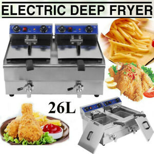 Electric Countertop Deep Fryer 26l Dual Tank Commercial Restaurant Meat Br
