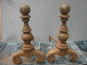 Ant Vtg Cast Iron Fireplace Andirons Pair Set 19 1 2 Hammered Cannon Ball Top