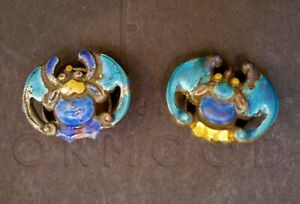2 Antique Chinese Qing Dynasty Silver Enamel Imperial Robe Bat Buttons