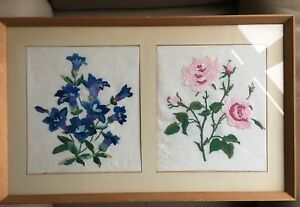 Vintage Flower Embroidery Mid Century Silk Rose Gentian Framed Tapestry Picture