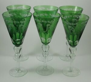 Green Cut To Clear Hock Etched Wine Glasses Water Glasses Set Of 5