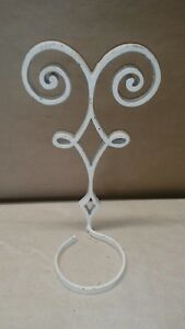 Antique Cast Iron Sconce Candle Wall Holder Home Decor White Metal 12 1 2 Vtg