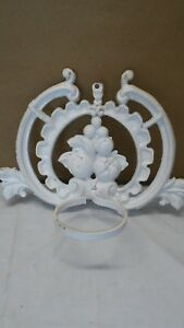 Antique Cast Iron Sconce Candle Wall Holder Home Decor White Fruit Metal Vtg