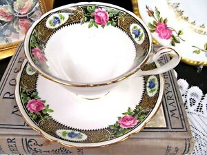 Shelley Tea Cup And Saucer Gainsborough Pink Black Teacup Footed Cup