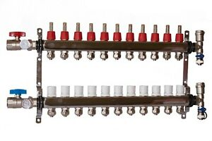 11 Loop 1 Stainless Steel Manifold For Radiant Heating For 1 2 Pex Tubing