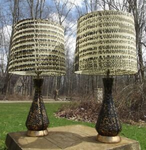 Retro Table Lamps 2 Mid Century Modern Cone Atomic Vintage Fiberglass Shades 50s