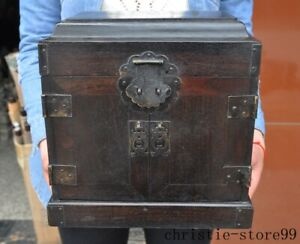 10 Old Chinese Ancient Rosewood Wood Carved Treasure Chest Storage Box Cabinet