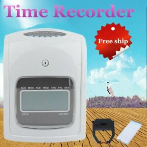 Employee Attendance Punch Time Clock Payroll Recorder Lcd W 50 Card Ribbon Br