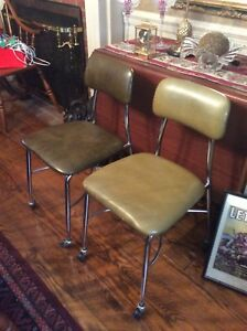 2 Vintage Heywood Wakefield Adult Size Chairs On Wheels Very Good