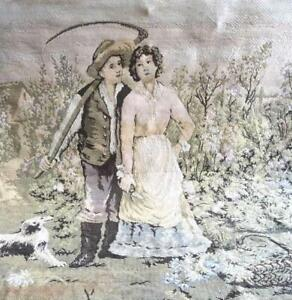 Turn Of The Century Belgian Tapestry Peasant Couple With Dog 46x46 Very Lovely