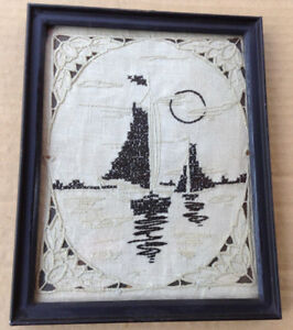Victorian Cross Stitch Embroidery Silhouette Framed Picture Rare Sailboats