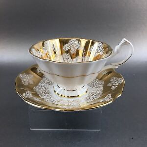 Queen Anne Heavy Gold Roses Bone China Teacup Saucer England Vintage Tea Cup