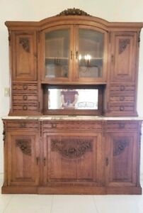 Antique Carved Solid Oak Stone Top Credenza Sideboard China Cabinet Two Pieces